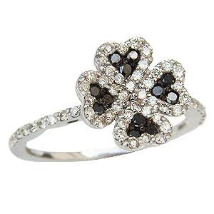 ダイヤモンド リング ブラックダイヤモンド リング クローバー 指輪 K18 ホワイトゴールド プレゼント 送料無料 カジュアル