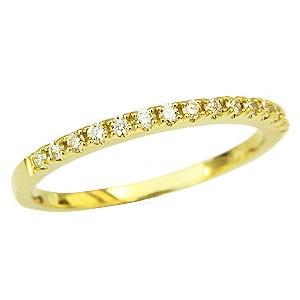 ダイヤモンド リング ハーフエタニティーリング 指輪 0.15ct K18 イエローゴールド 送料無料