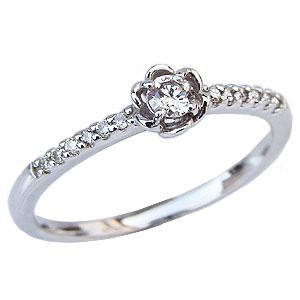 ダイヤモンドリング ダイヤモンド 0.18ct 指輪 プラチナ PT900 花 フラワー 4月誕生石 送料無料 カジュアル