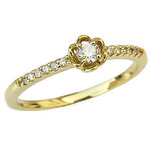 ダイヤモンド リング ダイヤモンド 指輪 イエローゴールド K18 花 フラワー 送料無料 カジュアル