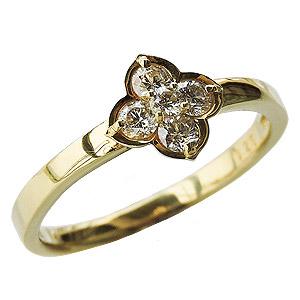 ダイヤモンドリング ダイヤリング ダイヤモンド0.25ct ダイヤモンド指輪 ダイヤ K18 イエローゴールド 18金 フラワーモチーフ 送料無料 誕生日プレゼント クリスマスプレゼント ホワイトデー 記念日 カジュアル 新居祝い 年始 クリスマス 記念品