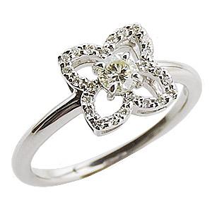 ダイヤリング ダイヤモンド リング ダイヤモンド指輪 ダイヤモンド 0.30ct ホワイトゴールド K18WG フラワー花モチーフ カジュアル 送料無料