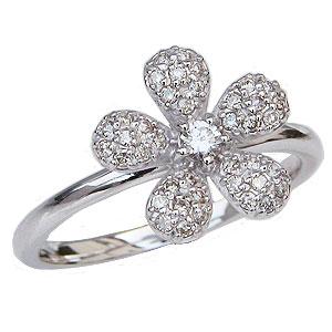 ダイヤモンド リング パヴェ ダイヤモンド 指輪 フラワー 花 モチーフ ホワイトゴールド K18 カジュアル 送料無料