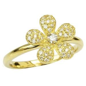 母の日 2019 ダイヤモンド リング パヴェ ダイヤモンド 指輪 フラワー 花 モチーフ ゴールド K18