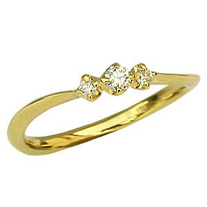 ピンキーリング ダイヤモンド リング 0.10 K18 ゴールド 指輪 送料無料