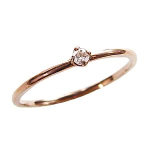 ピンキーリング 一粒ダイヤ ダイヤモンドリング 0.03ct ピンクゴールド K10 指輪 ファランジリング ミディリング