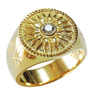 メンズリング ダイヤモンドリング 太陽モチーフ 指輪 印台リング 太陽 SUN メンズ 男性用 ゴールド 18金 K18 送料無料 クリスマス バレンタインデー 誕生日 プレゼント ギフト カジュアル