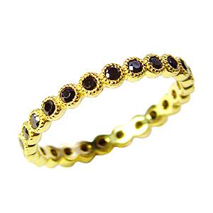 母の日 2019 ブラックダイヤモンド リング K18 ゴールド 結婚指輪 フルエタニティーリング