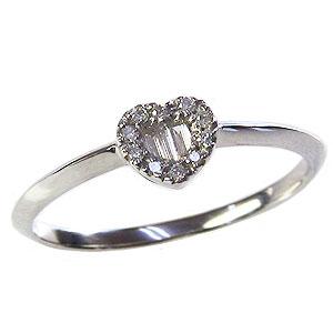 ハート ダイヤモンドリング ピンキーリング 指輪 ホワイトゴールド K18 送料無料 カジュアル