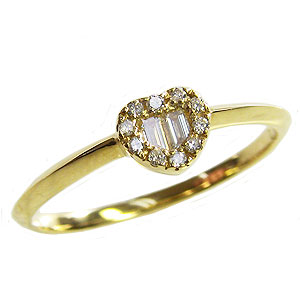 ハート ダイヤモンドリング ピンキーリング 指輪 イエローゴールド K18 送料無料 カジュアル