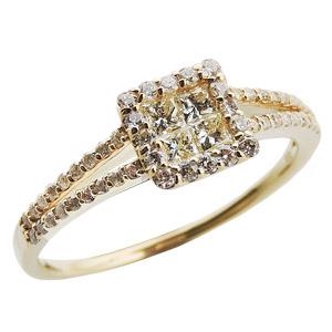 ダイヤモンドリング ダイヤリング ダイヤモンド指輪 ダイヤモンド 0.40ct台 プリンセスカット ラウンドカット K18 ゴールド 18金 レディース ジュエリー 送料無料 4月誕生石 誕生日 プレゼント クリスマス ホワイトデー 記念日 カジュアル