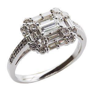 ダイヤモンドリング 婚約指輪 プラチナ エンゲージリング 指輪 ダイヤモンド 1.00ctアップ バケットカット ラウンドカット 送料無料 誕生日プレゼント クリスマスプレゼント ホワイトデー 記念日