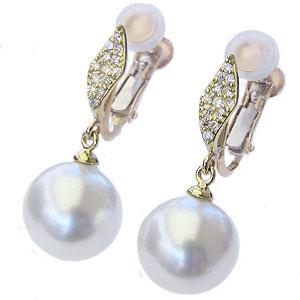 真珠パール 6月誕生石 イヤリング 南洋白蝶真珠 ホワイトピンク系 直径10mm K18 18金 ゴールド ダイヤモンド 0.16ct 送料無料