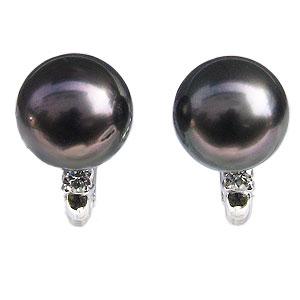 イヤリング パール 黒真珠パール K18ホワイトゴールドイヤリング ダイヤモンド 送料無料