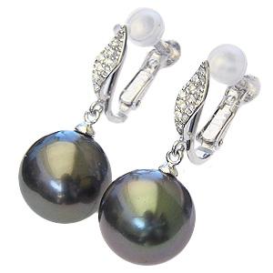 真珠パール 6月誕生石 イヤリング タヒチ黒蝶真珠 ブラックパール 直径11mm ダイヤモンド 26石 合計0.16ct K18WG ホワイトゴールド 送料無料