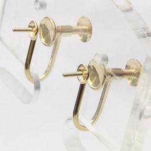 イヤリング K18 ゴールド 金具 ネジ スクリュー 式 スタッドタイプ Mサイズ ペア 送料無料