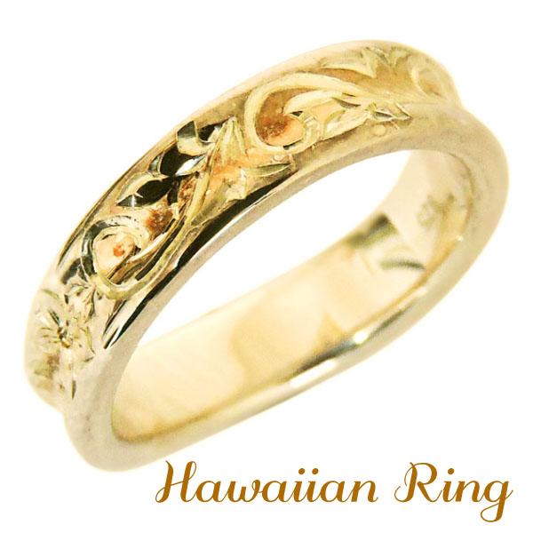 リング ハワイアンリング hawaiian ring 花と波レリーフ 逆甲丸 K18イエローゴールド メンズ カジュアル バレンタイン
