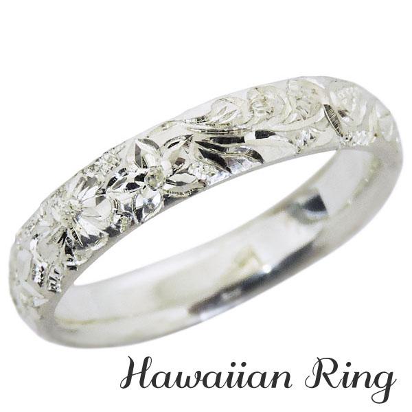 リング ハワイアンリング hawaiian ring 花と波レリーフ 甲丸 PT900プラチナ メンズ カジュアル バレンタイン