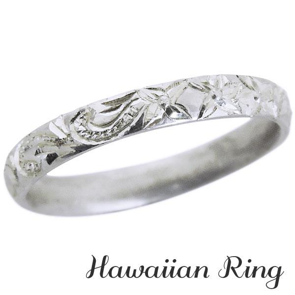 リング ハワイアンリング hawaiian ring 波と花レリーフ 甲丸 K18ホワイトゴールド メンズ カジュアル 父の日 バレンタイン