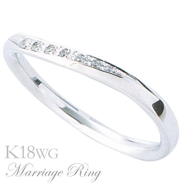 母の日 2019 マリッジリング 結婚指輪 高品質 ダイヤモンド K18 ホワイトゴールド レディース 5bl
