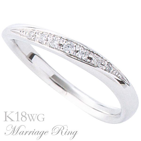 マリッジリング 結婚指輪 高品質 ダイヤモンド K18 ホワイトゴールド レディース 7bl