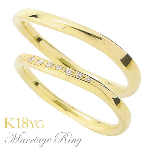 母の日 2019 マリッジリング 結婚指輪 高品質 ダイヤモンド K18 イエローゴールド ペア 5dds