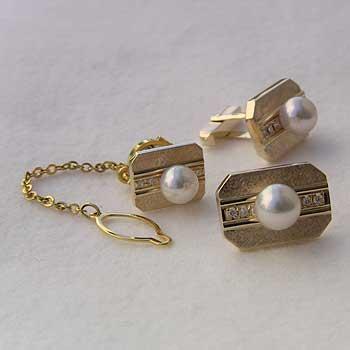メンズ 2点セット あこや本真珠 K18 ゴールド タイタック カフスセット ピンクホワイト系 7-8mm ダイヤモンド 父の日 バレンタイン
