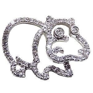ブローチ カバ メンズ 男性用 かば ピンズ 河馬 ラペルピン ダイヤモンド K18WGホワイトゴールド メンズジュエリー 送料無料 クリスマス バレンタイン