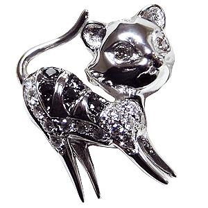 ブローチ 猫 ねこ ネコ ピンズ CAT ラペルピン ダイヤモンド K18WGホワイトゴールド ジュエリー 送料無料