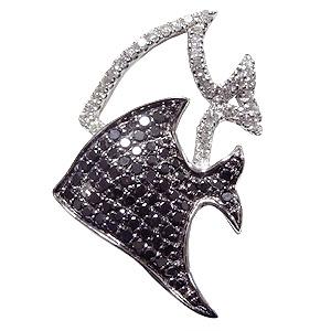 ブローチ 熱帯魚 メンズ 男性用 ねったいぎょ ピンズ さかな ラペルピン ダイヤモンド ブラックダイヤモンド K18ホワイトゴールド メンズジュエリー 送料無料 クリスマス アンティーク調 バレンタイン