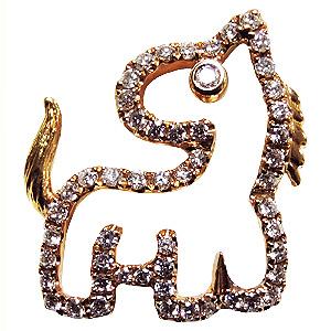 ブローチ 馬 うま ピンズ ホース ラペルピン ダイヤモンド K18 ジュエリー 送料無料 クリスマス