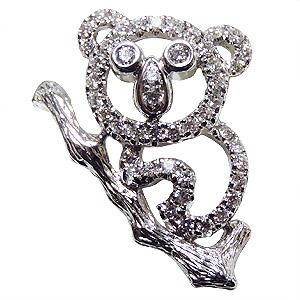 ブローチ コアラ メンズ 男性用 こあら ピンズ ラペルピン ダイヤモンド K18ホワイトゴールド メンズジュエリー 送料無料 クリスマス バレンタイン