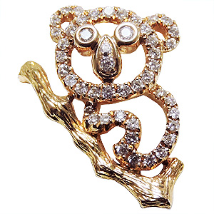 ブローチ コアラ メンズ 男性用 こあら ピンズ ラペルピン ダイヤモンド K18 メンズジュエリー 送料無料 クリスマス バレンタイン