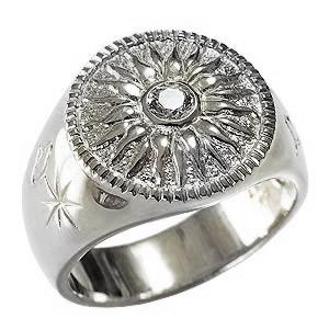 指先に輝きを 太陽モチーフ ダイヤモンドメンズリング メンズリング ダイヤモンドリング 太陽モチーフ 指輪 印台リング 太陽 SUN メンズ 男性用 18金 K18 ホワイトゴールド 送料無料 クリスマス バレンタインデー 誕生日 プレゼント ギフト カジュアル