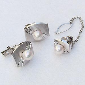 真珠 パール タイタック カフス セット あこや本真珠 7-7.5mm メンズ 父の日 バレンタイン