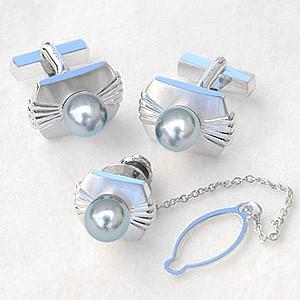 メンズジュエリー 真珠パール タイピン タイタック カフス セット あこや真珠 シルバー メンズ バレンタイン