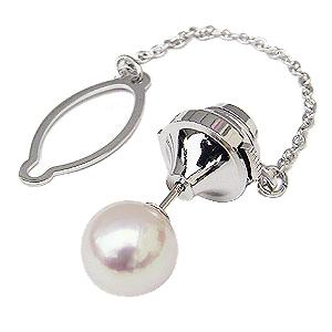 オーロラ花珠 あこや本真珠 パールタイタック 真珠 ネクタイピン 大珠9mm タイピン ホワイトゴールド