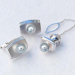 メンズジュエリー 真珠パール タイピン タイタック カフス セット あこや真珠 K14ホワイトゴールド メンズ 父の日 バレンタイン