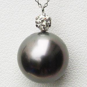 母の日 2019 真珠 パール ペンダントネックレス タヒチ黒蝶真珠 12mm プラチナ