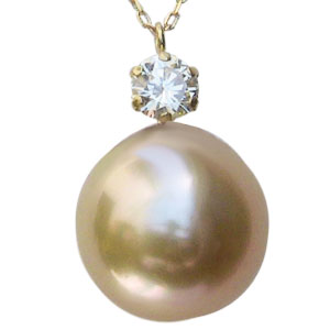 母の日 2019 真珠 パール ネックレス 南洋白蝶真珠 ゴールデンパール 10mm K18 ゴールド