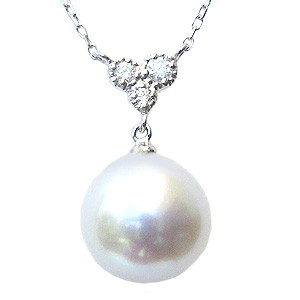 母の日 2019 南洋白蝶真珠 パール ペンダント ネックレス 10mm ダイヤモンド ホワイトゴールド K18WG 18金