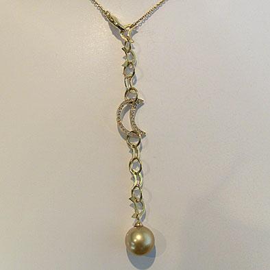 母の日 2019 南洋白蝶真珠 ダイヤモンド ペンダントネックレス パール 12mm ゴールド系 K18 ゴールド