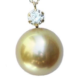 母の日 2019 真珠 パール ネックレス 南洋白蝶真珠 ゴールデンパール 11mm K18 18金,ゴールド