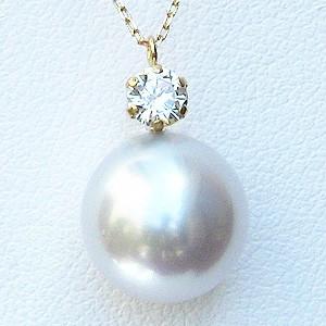 母の日 2019 真珠 パール ネックレス 南洋白蝶真珠 10mm ピンクホワイト系 ダイヤモンド K18 ゴールド 18金