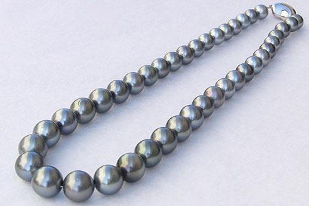 母の日 2019 真珠 パール ネックレス チョーカー タヒチ黒蝶真珠 約8mm-11mm シルバーグレー系