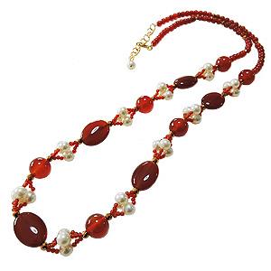ロングネックレス 真珠ネックレス パールネックレス 淡水パール 真珠 パール 赤メノウ ヘマタイト