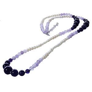 母の日 2019 ロングネックレス パールネックレス 真珠ネックレス パールロング 真珠ロング アメジスト ヘマタイト 86cm 送料無料