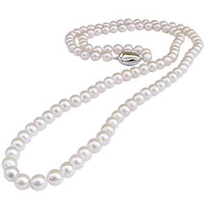 母の日 2019 限定10本 あこや本真珠 全長約83cm ホワイトピンク系 パールロングネックレス バロック型