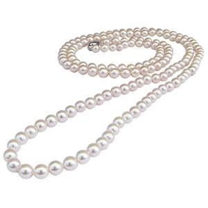 母の日 2019 ホワイトピンク系 あこや本真珠 限定5本 全長約122.5cm パールロングネックレス バロック型