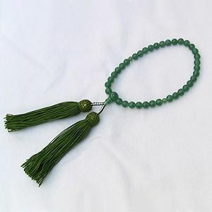 アヴェンチュリン 印度翡翠 念珠 数珠 7.0mm 房緑 丸玉 念珠ケース付き 女性用